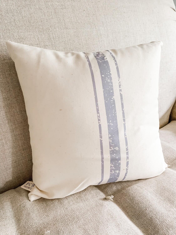 3 Stripe Grain Sack Pillow Grey