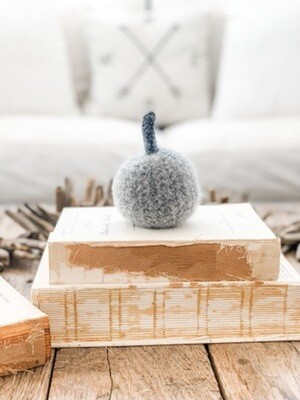 Light Grey Felted Pumpkin