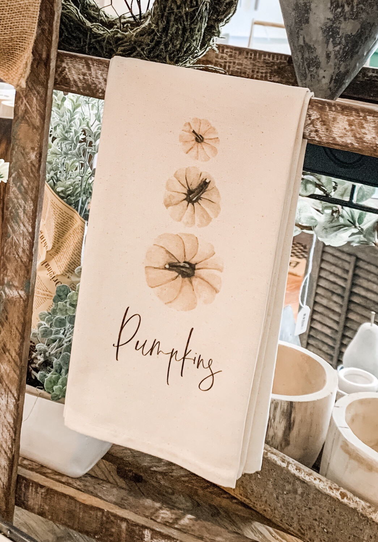 Pumpkins Watercolor Tea Towel