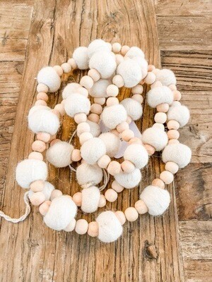Wood & Wool Pom Pom Garland