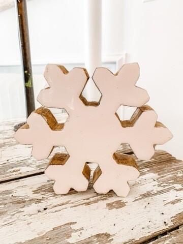 White & Wood Snowflake