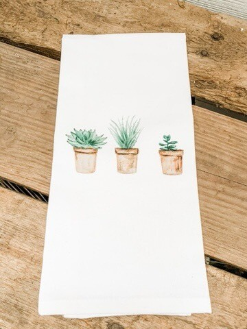 Succulent Pots Tea Towel