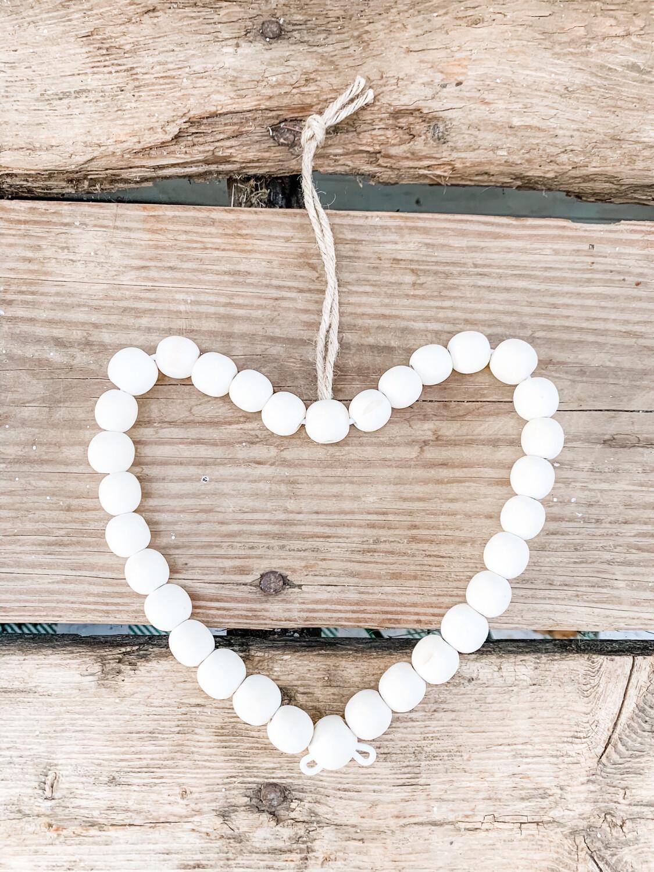 Wood Bead Heart