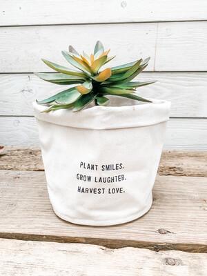 Plant Smiles Canvas Planter