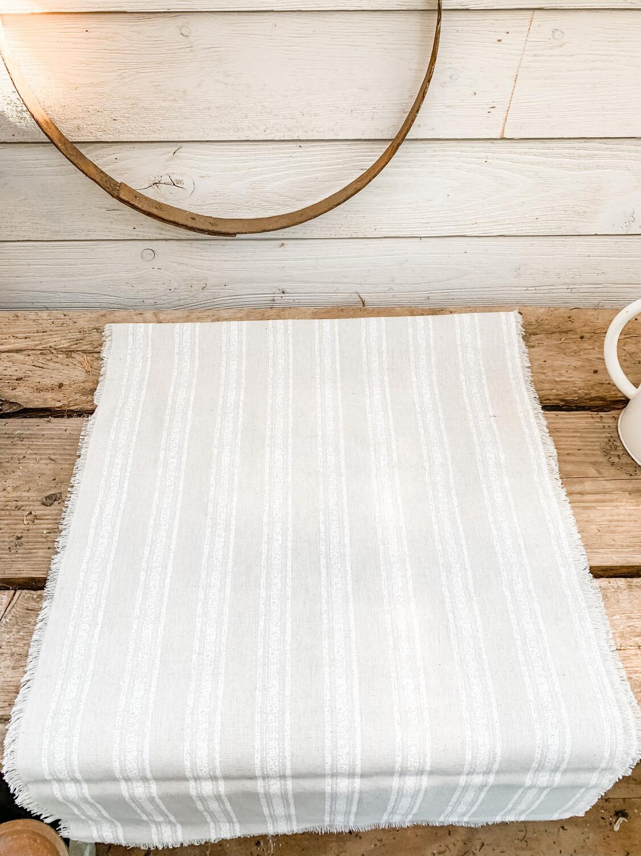 Linen table runner-cream stripe