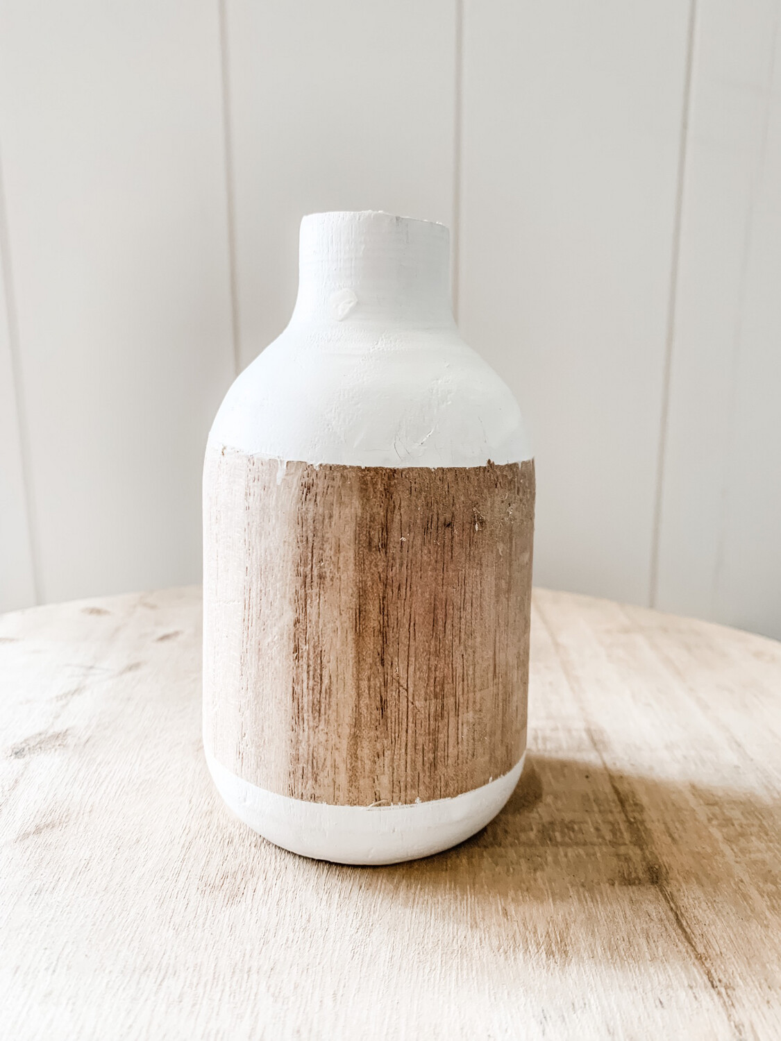 Two Toned Wood Vase Wide