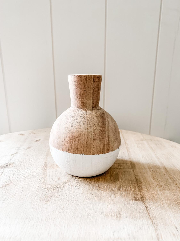 Two toned wood vase round