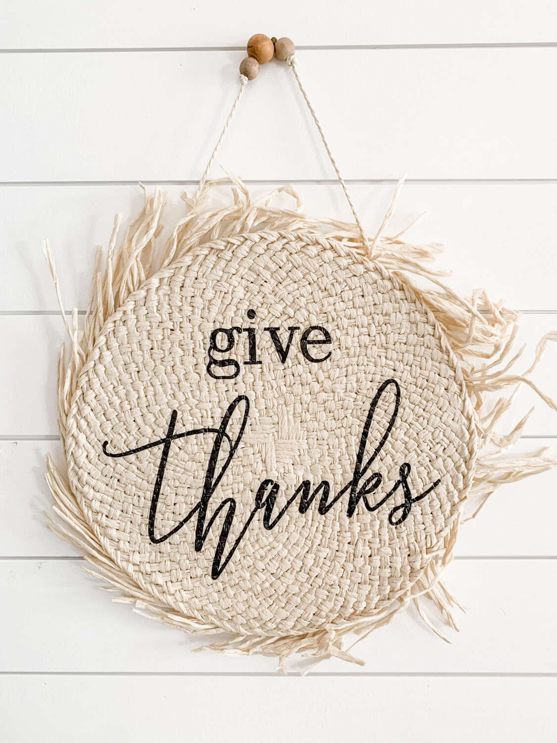 Give Thanks Thatched Sign