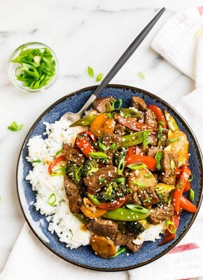 Oriental Beef Stir Fry & Rice