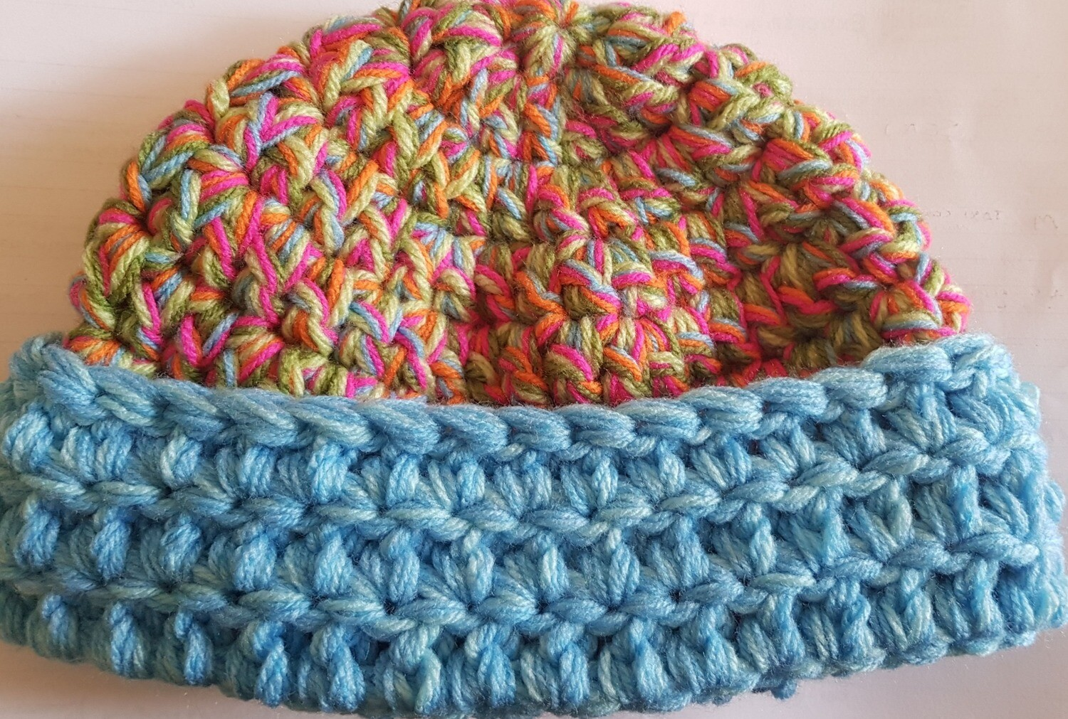 Sweet Pea with Baby Blue Edge Chunky Beanie - Adult Unisex