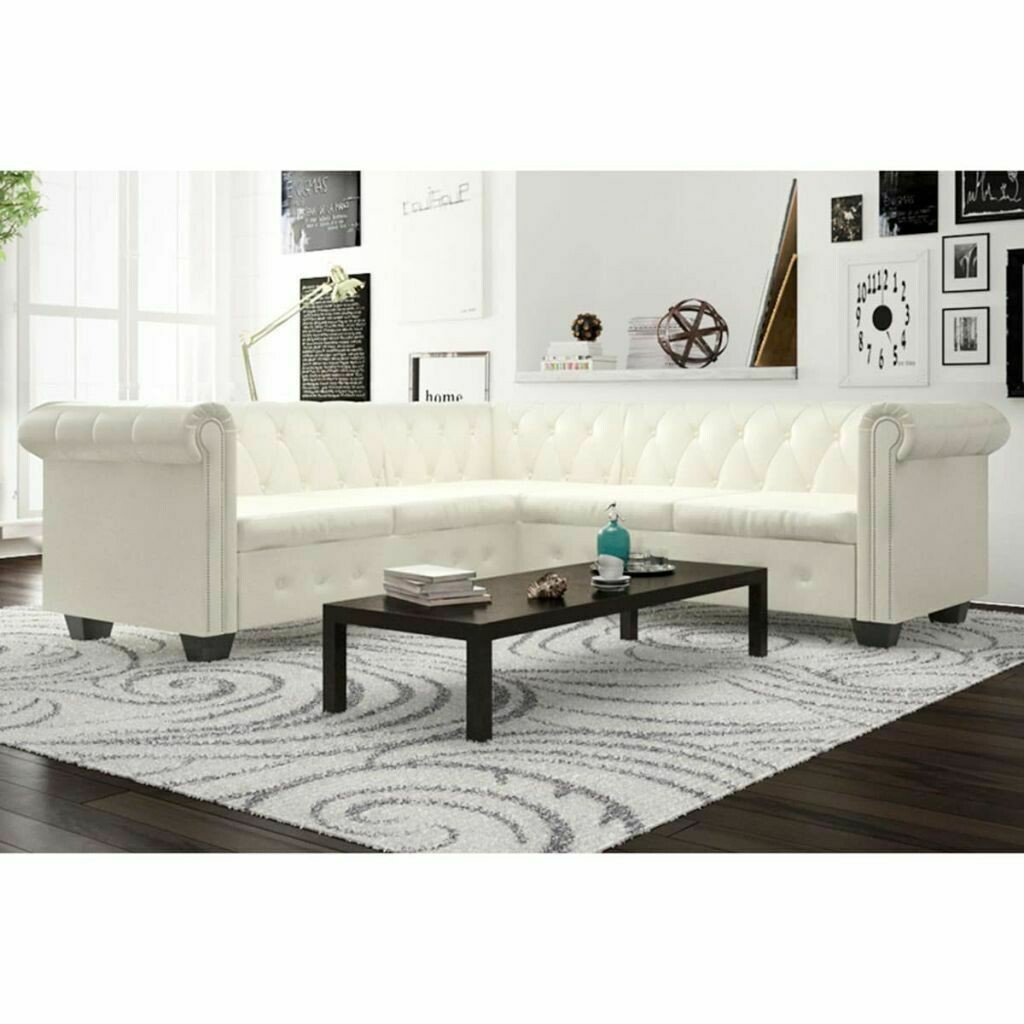 Modern 5 Seater Chesterfield Corner Leather Sofa Couch Chaise Lounge In White