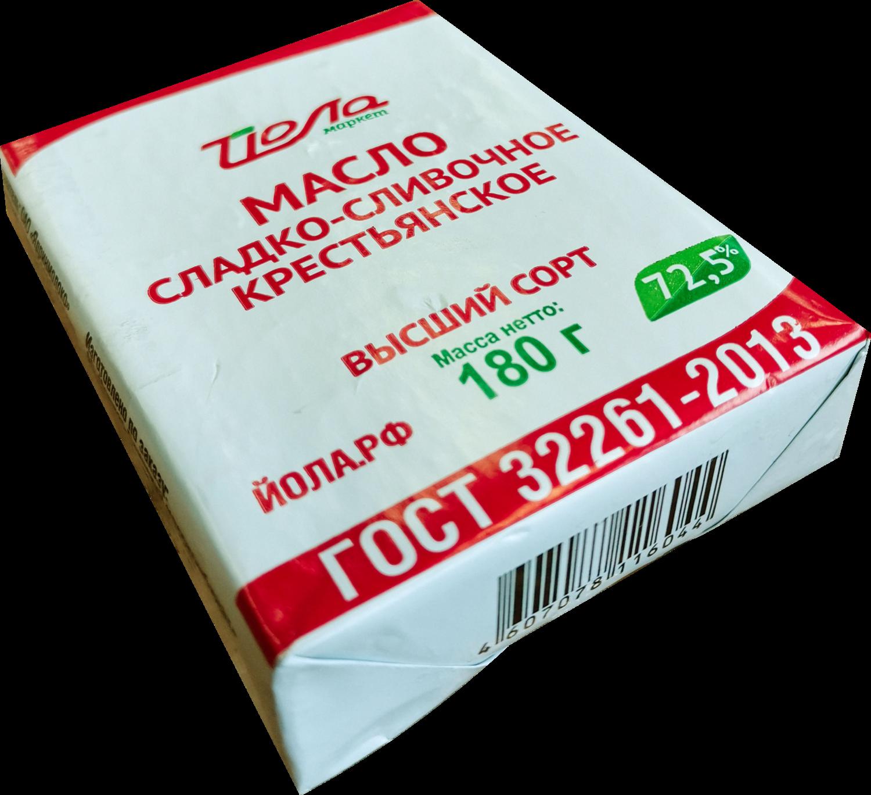 Масло Йола сливочное 72.5% 180г (Ядрин)