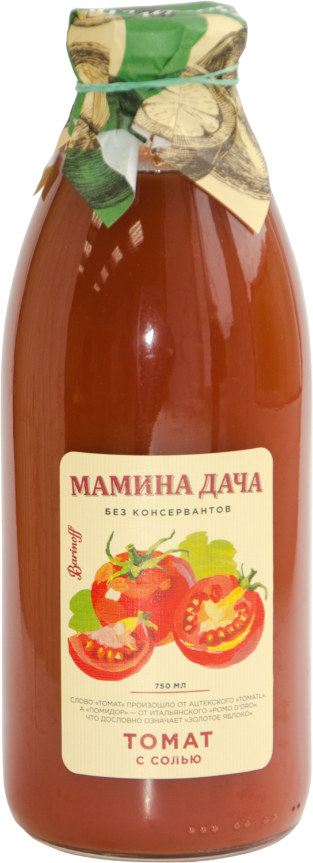 Сок Мамина дача томатный с мякотью и солью 0,75л