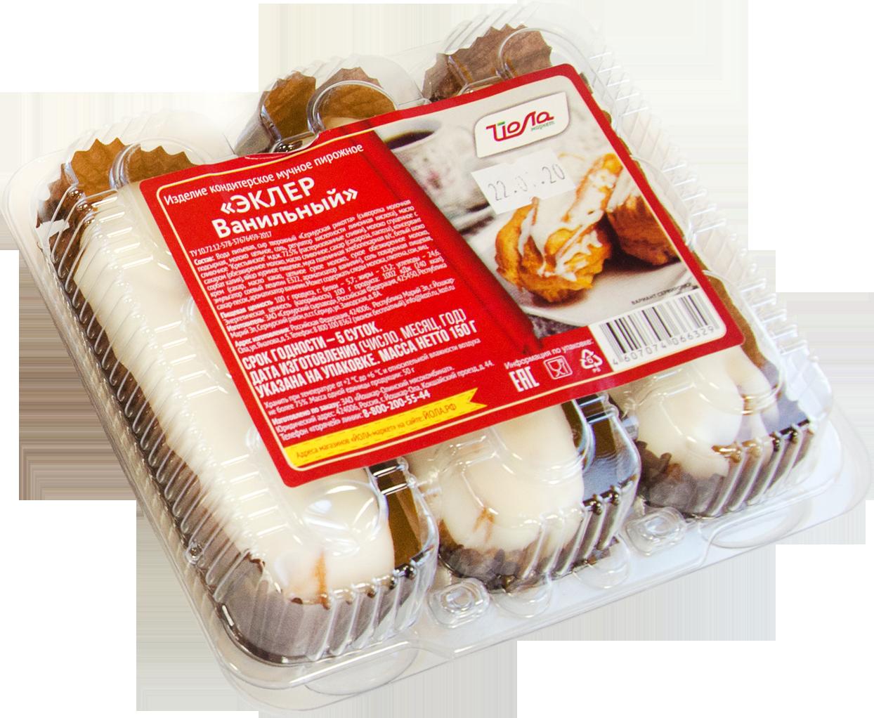 Пирожное Эклер Йола с рикоттой ванильный 150г (ССЗ)