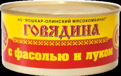 Говядина с фасолью и луком