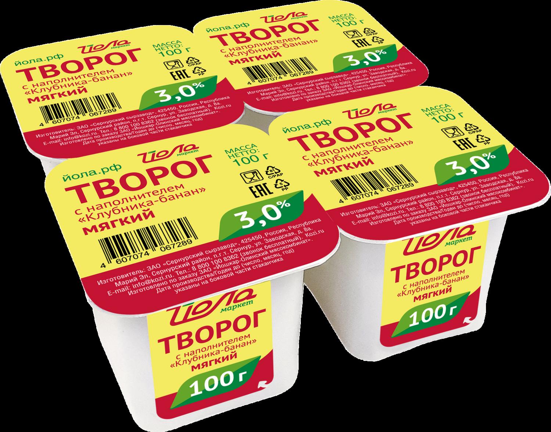 Творог из кор.молока Клубника/Банан Йола 3% 100г