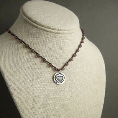 Artisan Silver Stamped Heart Necklace