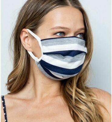 Navy Striped Face Mask