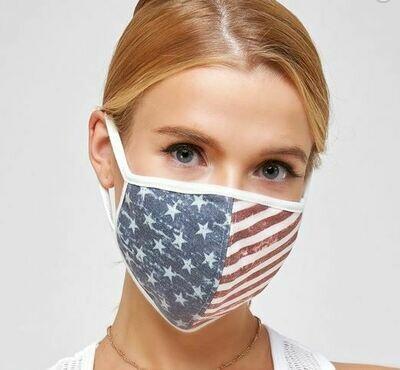 American Flag Face Mask w/Filter Pocket