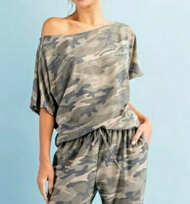 Camo Print Off the Shoulder