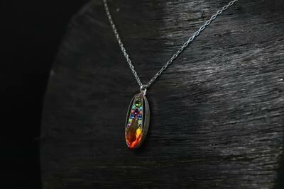 Orange Firefly Necklace
