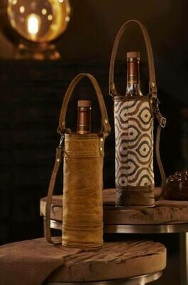 Recycled Leather Wine Bag