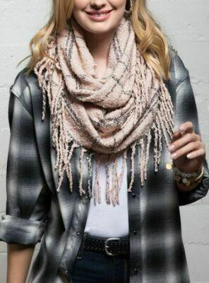 Plaid Infinity Knit Scarf