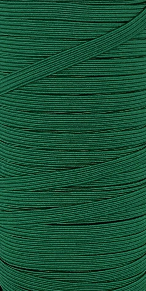 Emerald Green- 1/4 inch - 6mm Braided Elastic