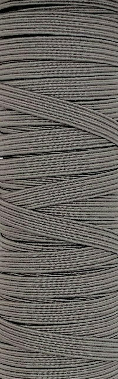 Grey - 1/4 inch - 6mm Braided Elastic