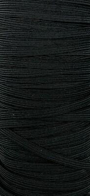 Black - 1/4 inch - 6mm Braided Elastic