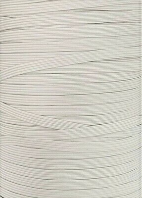 White - 1/4 inch - 6mm Braided Elastic