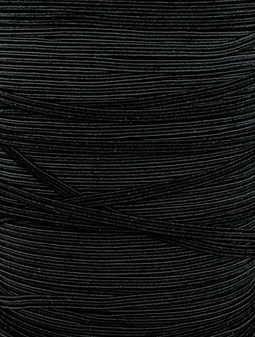 "Braided Elastic 1/8"" - 3mm - Black"