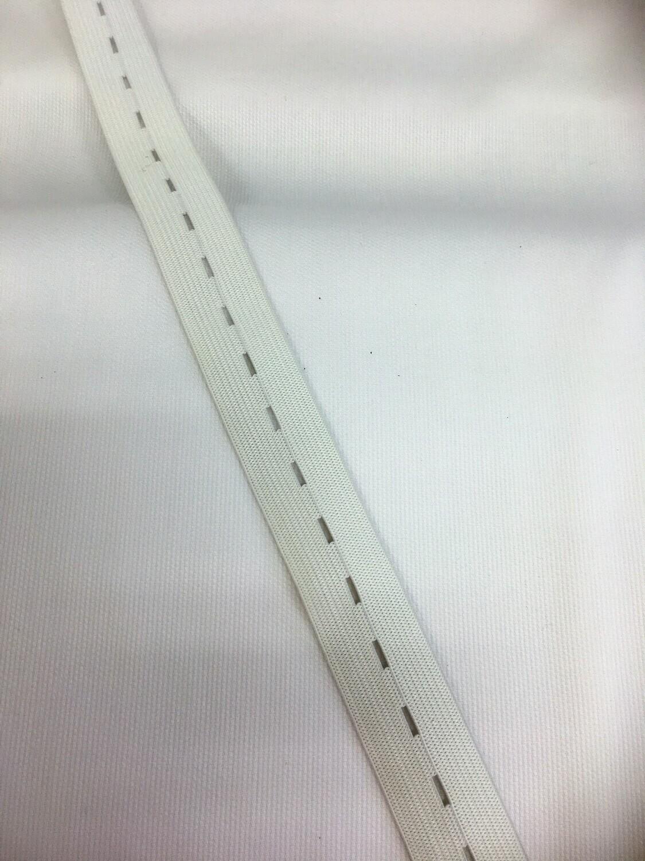 "Buttonhole Elastic - White - 25mm/1"""