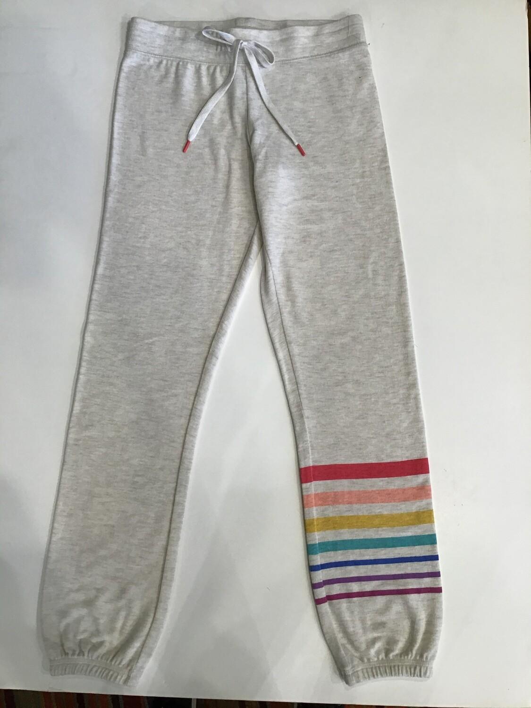 Rainbow stripe leg banded pant