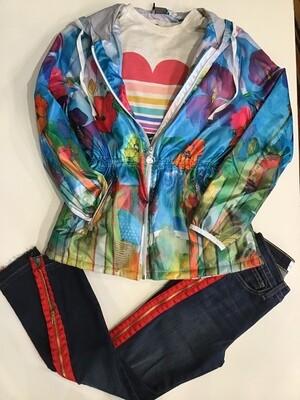 Poppy watercolor drawstring jacket