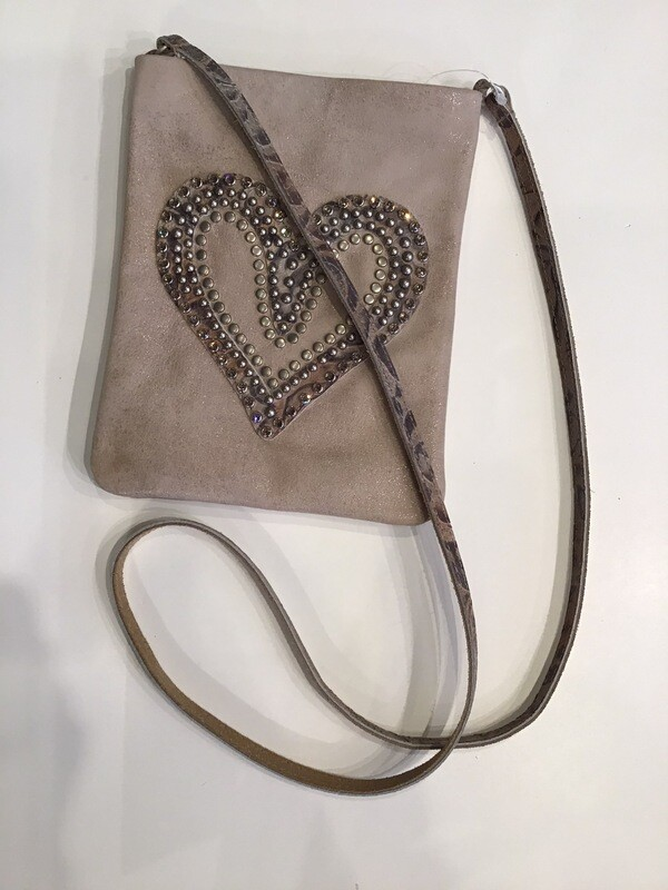 Studded And Bejewel Heart Pouch