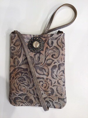 Tooled Leather Broach Snap Pouch
