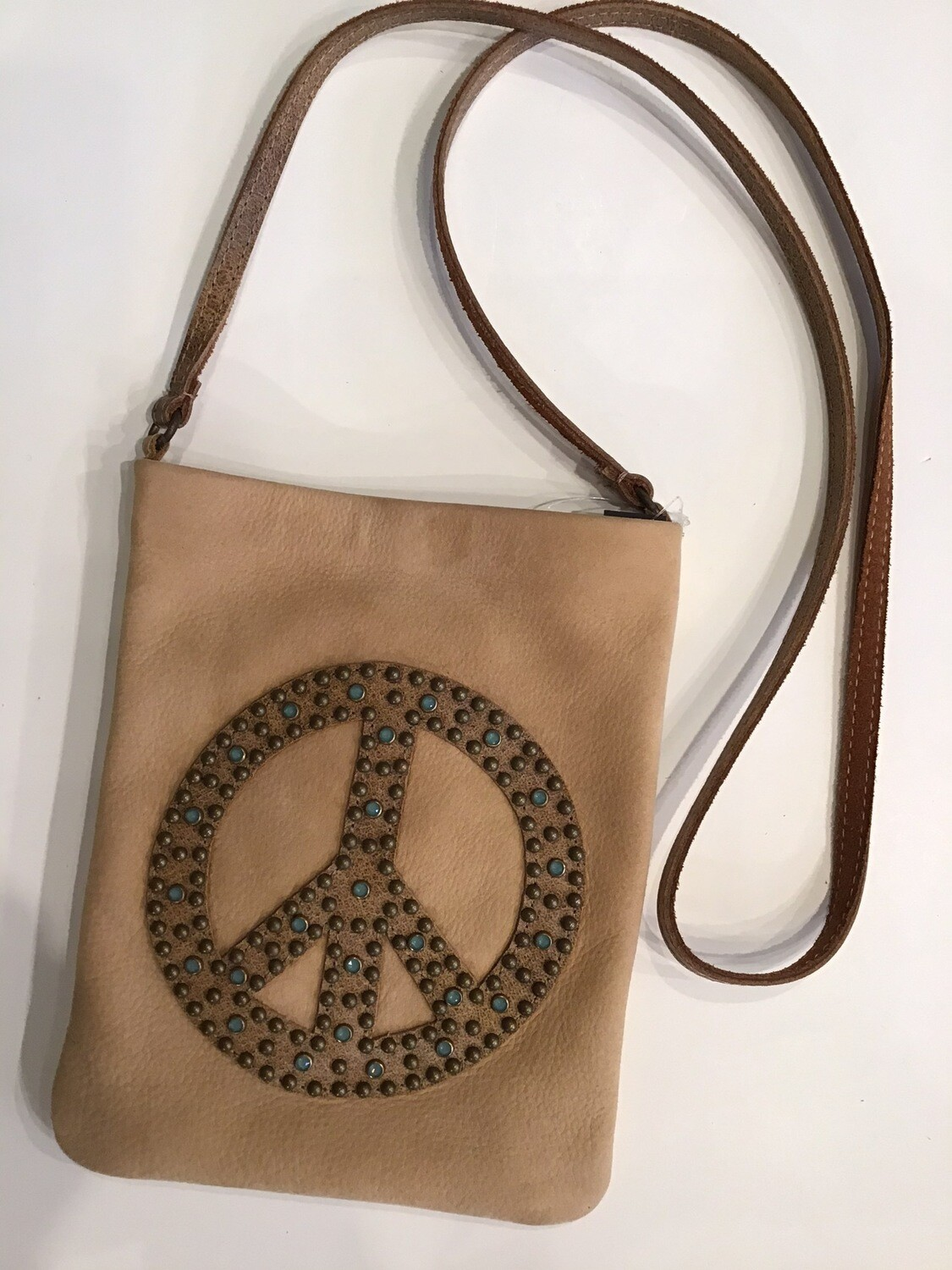 Jade Peace Sign Studded Pouch