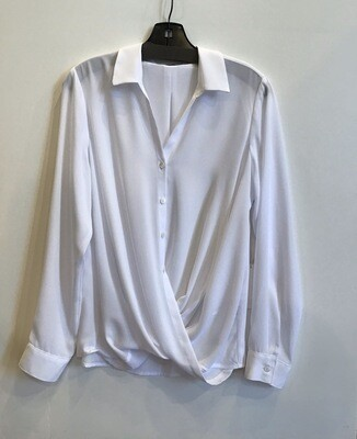 Drape front crossover blouse