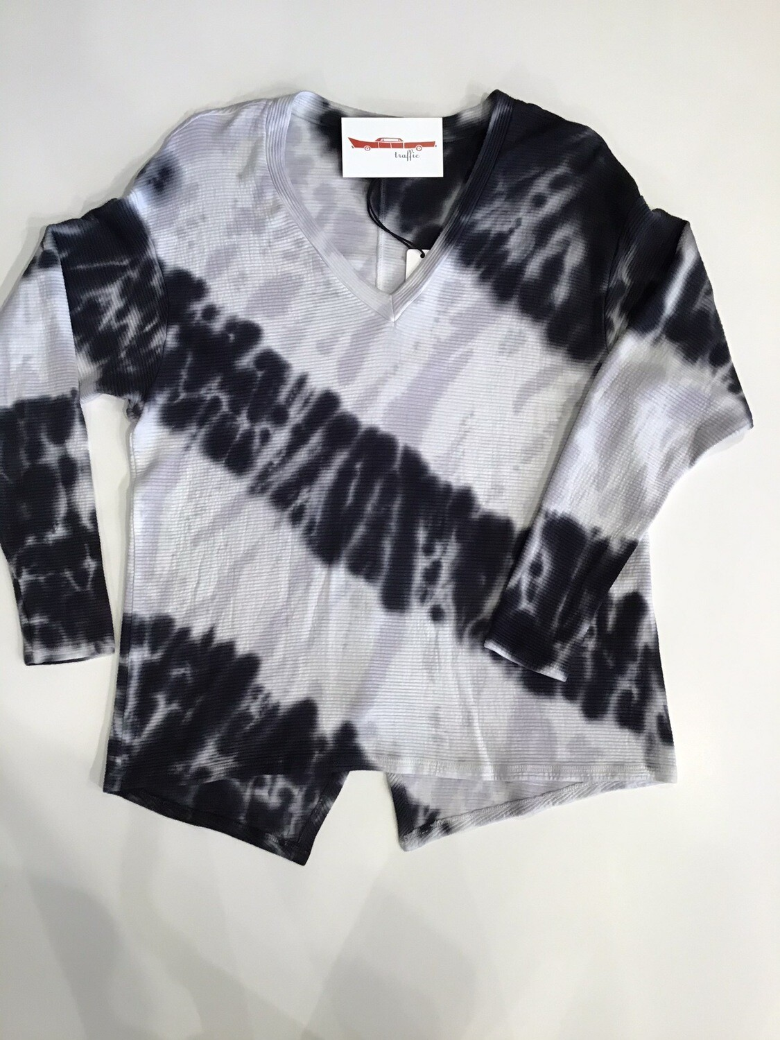 Stripe Tie Dye Split Back  Tee