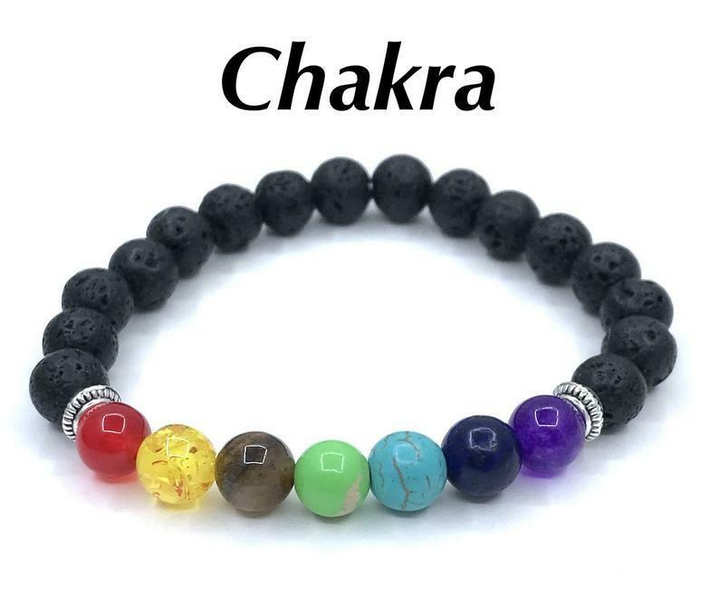 Chakra & Lava Stone Bracelet