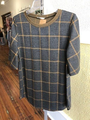 Plaid 3/4 Bell Sleeve