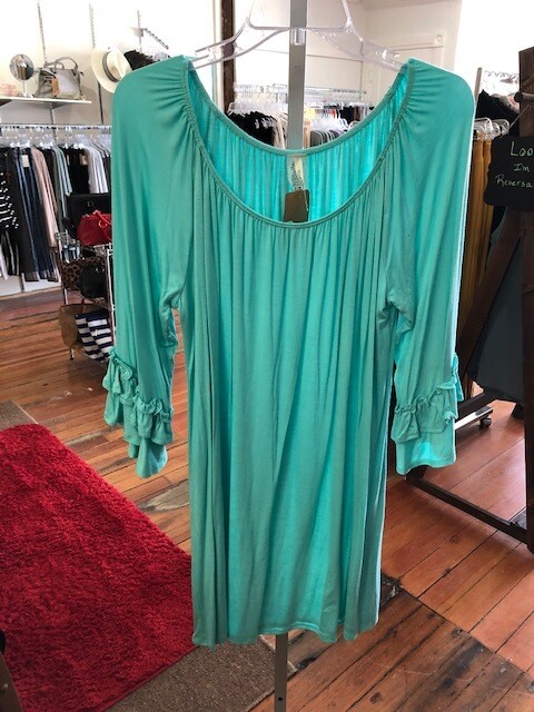 Tunic Ruffle Slv Plus Mint