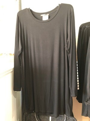 Black Knit Tunic Long Sleeve -Plus