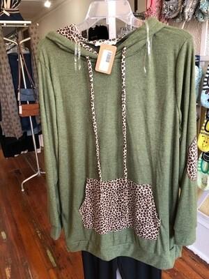 Green/Leopard Sweater Hoodie