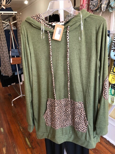 Green/Leopard Sweater Hoodie Plus