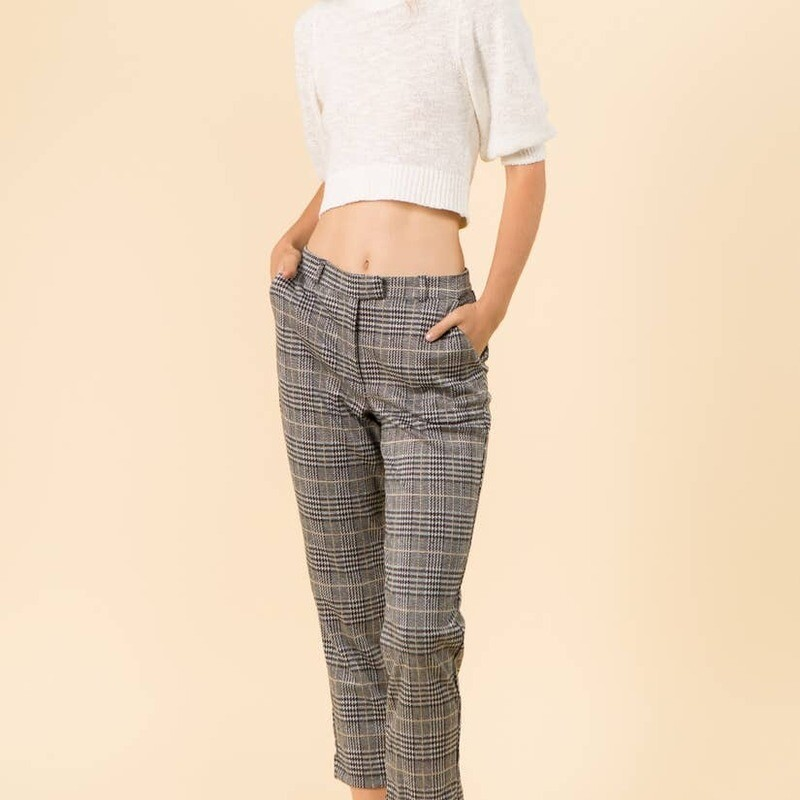 Plaid Knit Cropped Pant