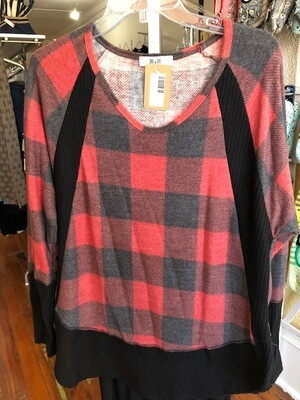 Plaid Red/Blk Tunic Plus