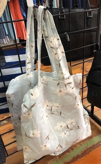 Mint Floral Tote Bag