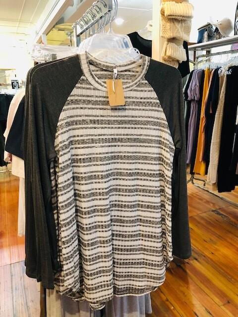 Grey/Ivory Stripe Tunic